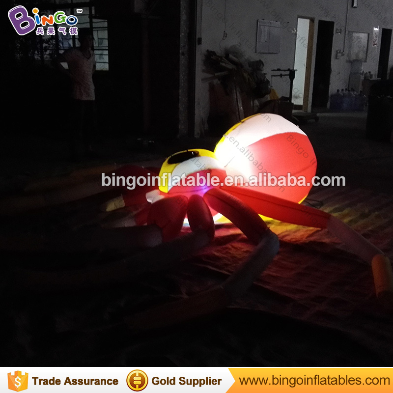 GOOD QUALITY 5M inflatable lighting LED colored spider balloon customized aircharging spinner Halloween item for advert decorate