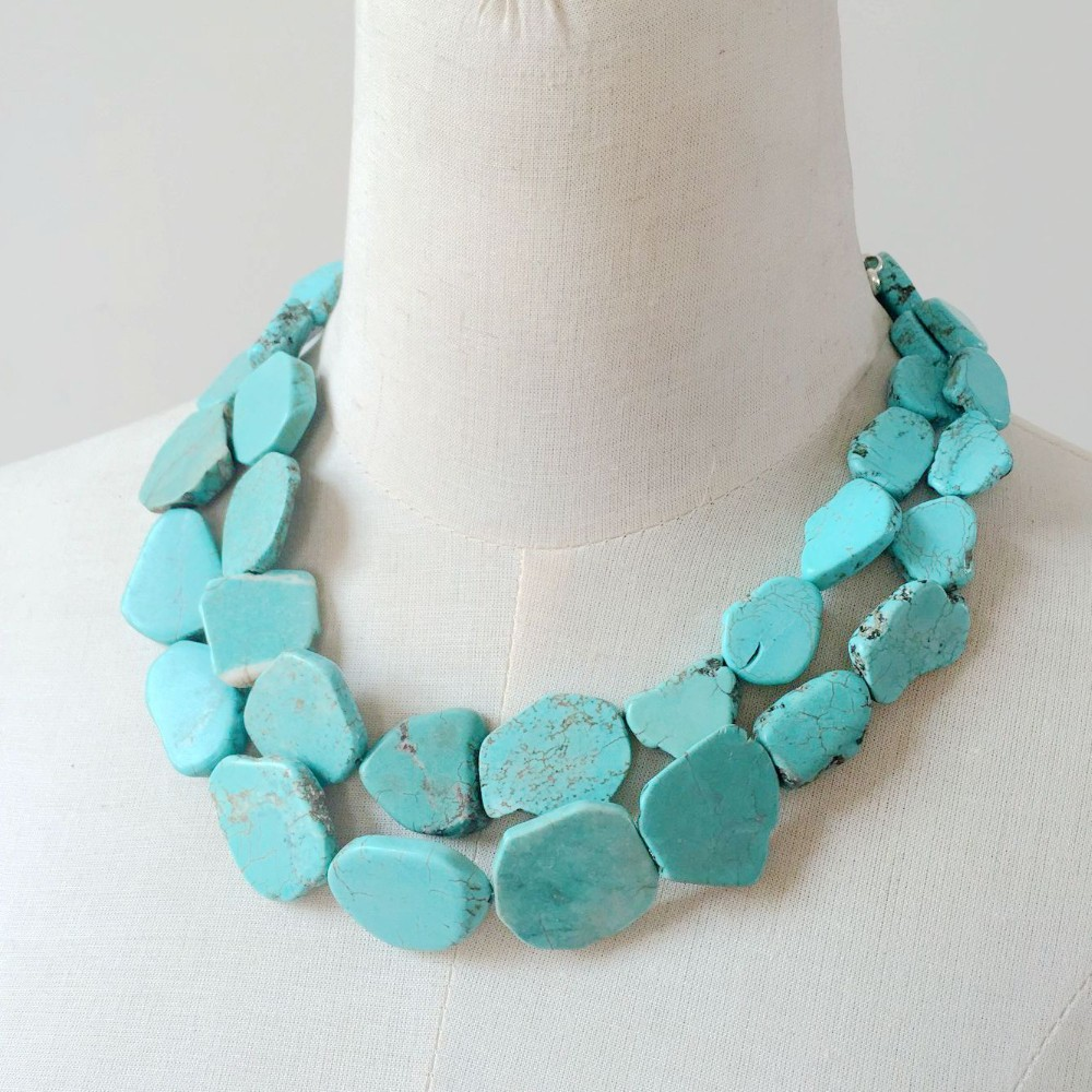 collar turquoise stone necklace