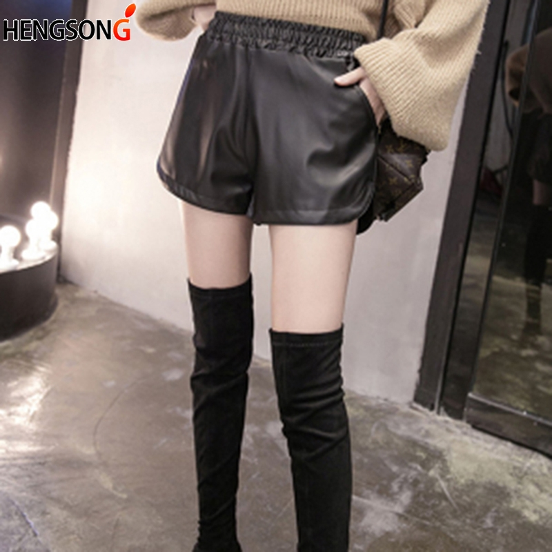 S-3XL PU Leather Shorts Casual High Waist Short Pants Spring Autumn Bottom Wide Leg Shorts For Women Black Loose Pants