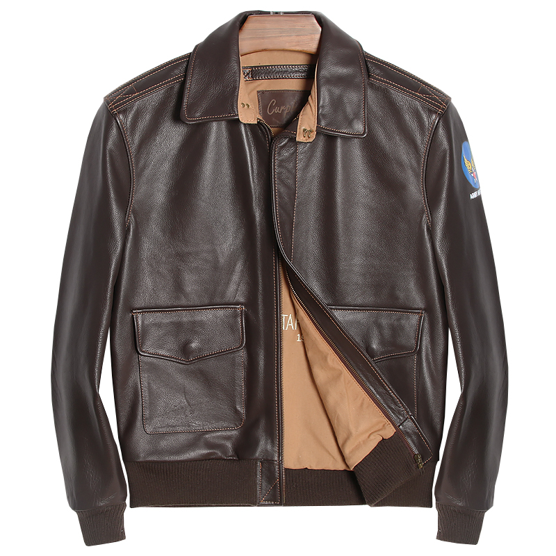 HARLEY DAMSON Brown Men A2 Pilot Leather Jacket Plus Size XXXXL Genuine Thick Cowhide Russian Military Aviator Leather Coat
