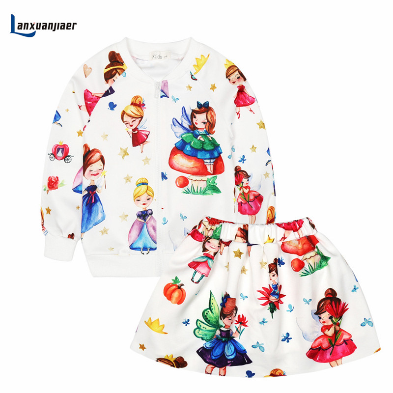 Lanxuanjiaer Children Girls Clothing Sets Winter Autumn Kids Clothes Toddler fashion Suits Tracksuits 2 piece set Jacket + Skirt lonsant clothing sets children winter