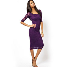 New hot explosions European and American temperament goddess seven-sleeved slim lace high waist slimming sexy female dress