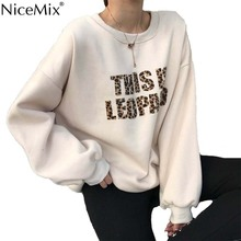 NiceMix Harajuku Sweatshirt Women Jumpers Print Leopard Velvet Pullovers Casual Hoodies Gothic Shirts Sudadera Mujer 2019