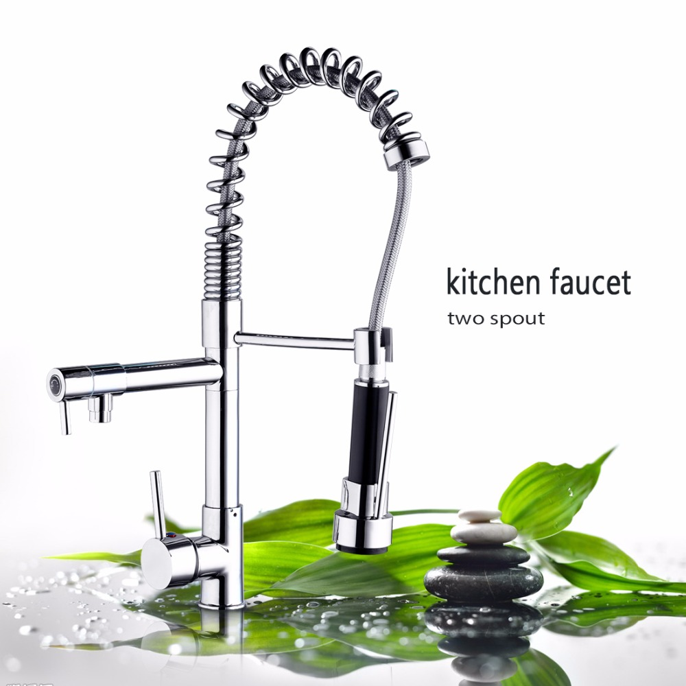 Kitchen Faucets Brass Chrome Polished Finish Pull Out Spring Kitchen Faucet Swivel Spout Vessel Sink Hot And Cold  Mixer Tap swivel spout chrome brass kitchen faucet dual sprayer vessel sink mixer tap hot and cold water