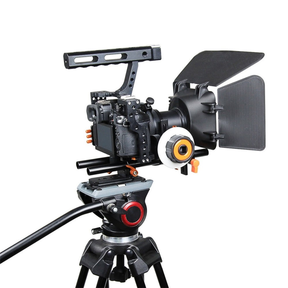 цена на YELANGU A7 Cage Set Top Handle Grip Include Video Camera Cage Stabilizer &Follow Focus&Matte Box for Camera GH4/A7S/A7/A7R/A7RII