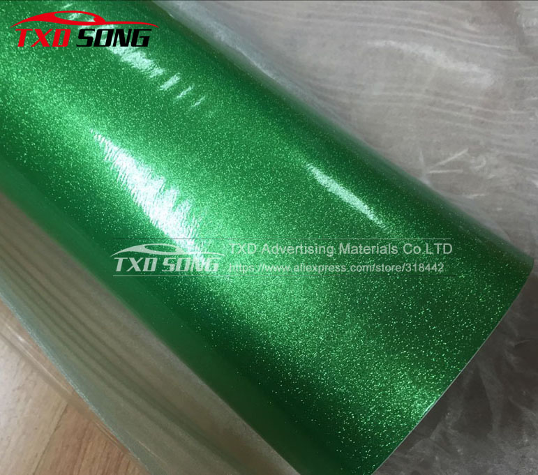 GREEN Glossy glitter diamond vinyl car sticker with air free channels , Glitter Pearl film for car Wraps ,Size:1.52m*20m/roll
