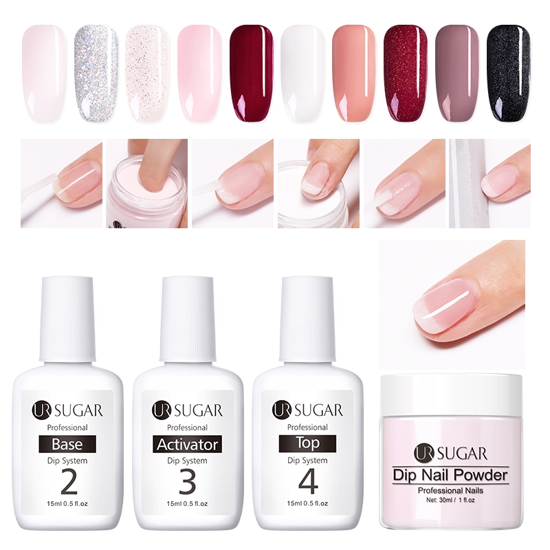 UR SUGAR 4Pcs Dip Nail Powder Set Nail Glitter French Nail Holographic Manicure 30ml Dry Chrome Pigment Dipping For Nails Art in Nail Glitter from Beauty Health