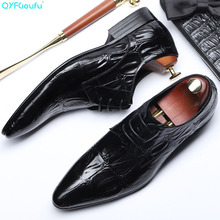 QYFCIOUFU 2019 Italy mens formal crocodile shoes genuine leather Wedding office dress Footwear Handmade oxford