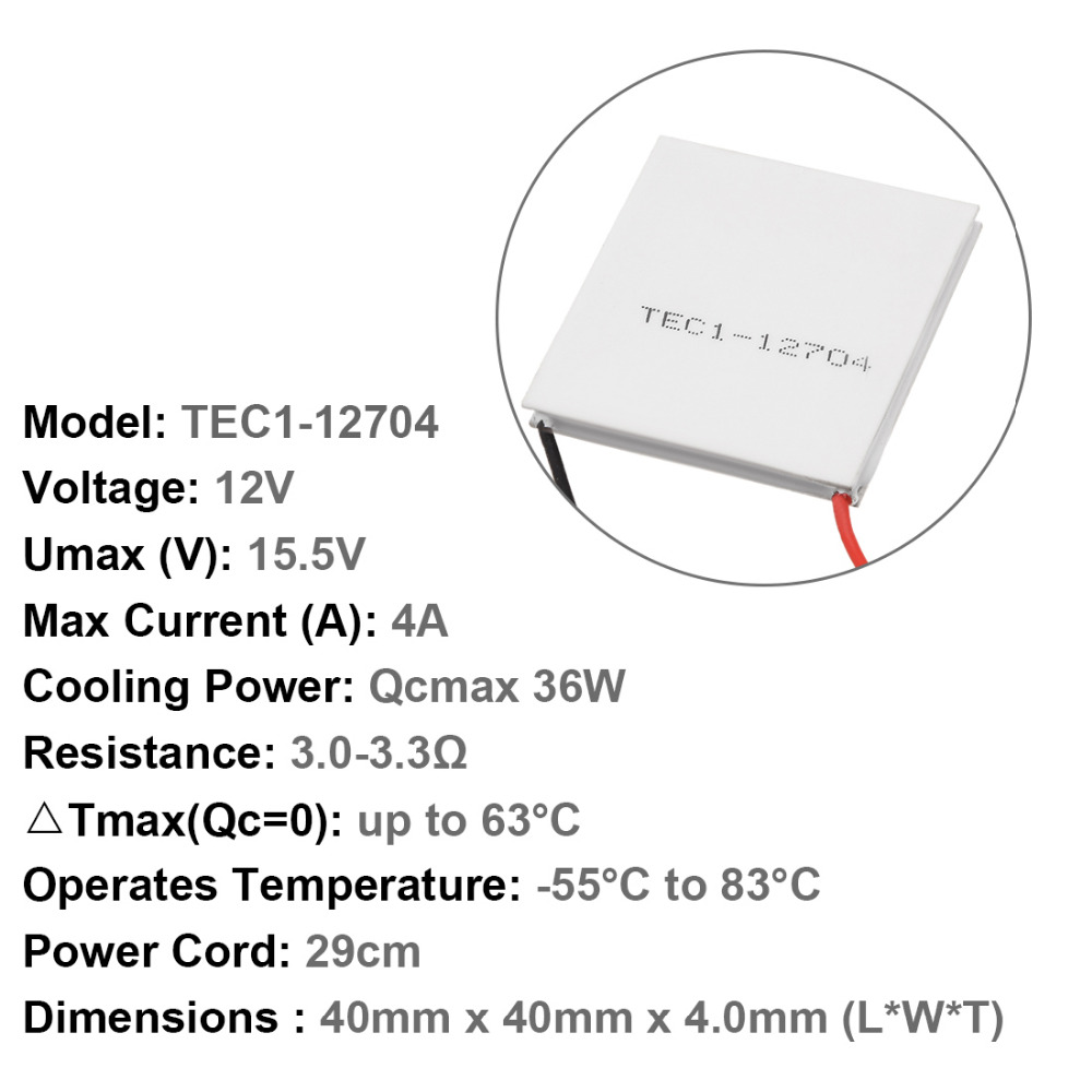 Uxcell Thermoelectric Cooler Heat Sink Cooling Peltier 12 Volt 18/30/36  Watt 12V -55 to 83 Celsius Degree Switch Supplies 1PCS