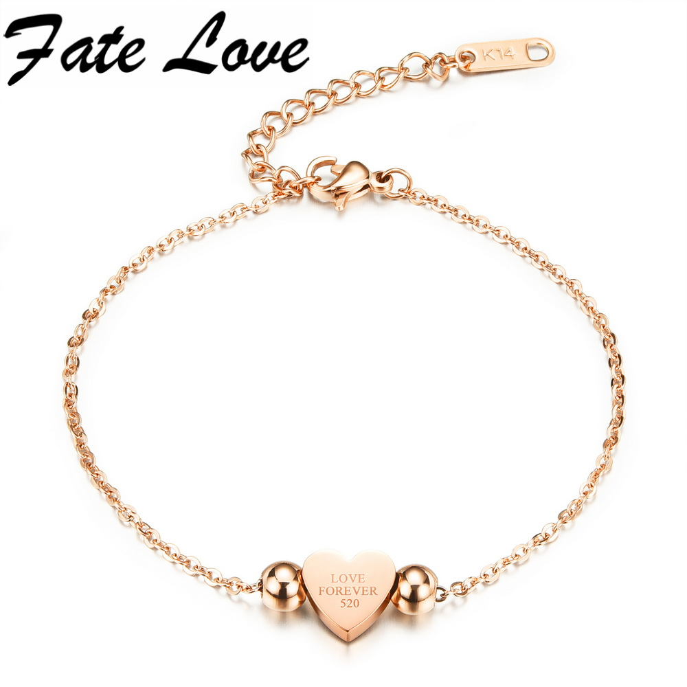 Fate Love Classic Heart WhiteRose Gold Color Stainless Steel Love Forever Words Bracelets Link Chain Women Gift Jewelry FL821