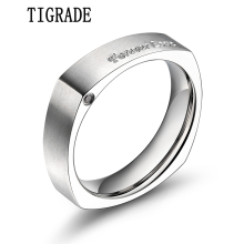 цена TIGRADE Men Titanium Ring Forever Love Inlay Polished Beveled Wedding Band Engagement Rings For Women Male Jewelry Gift онлайн в 2017 году
