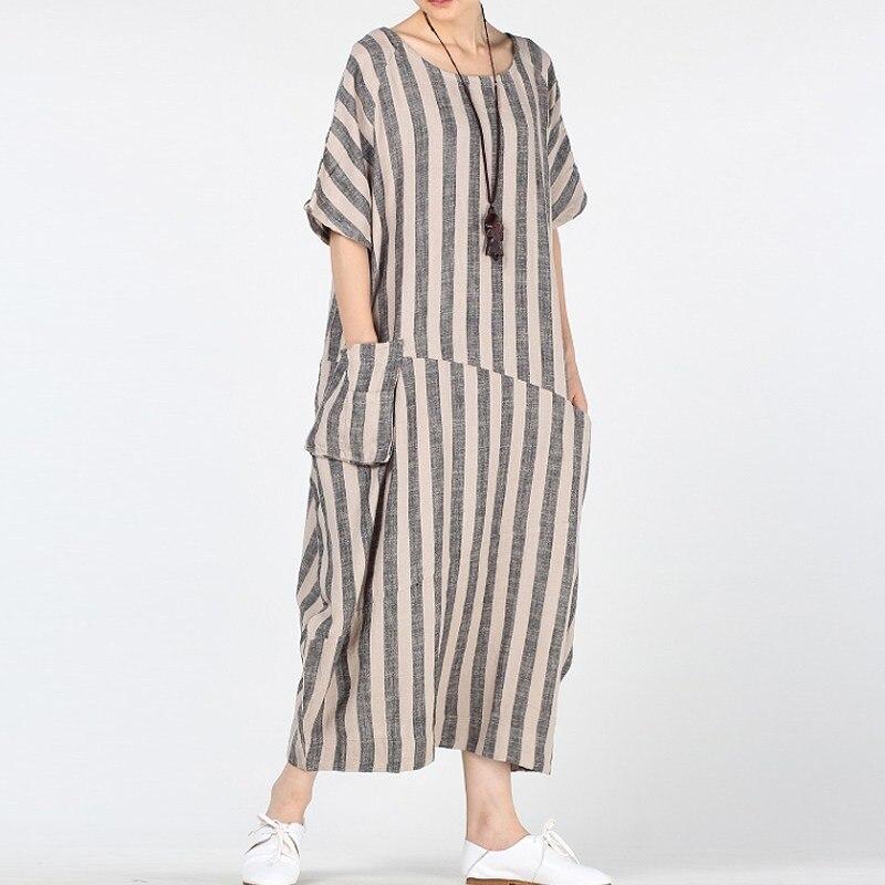 ZANZEA Retro Women Round Neck Short Sleeve Long Kaftan 2018 Summer Casual  Cotton Linen Pockets Striped Office Ladies Maxi Dress 5f8ffb23d