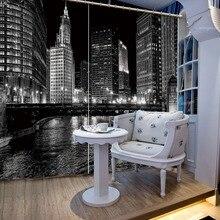 Красивые фото Модные индивидуальные 3D шторы ночной город огни Роскошные затемненные 3D шторы для гостиной постельные принадлежности комнаты офиса