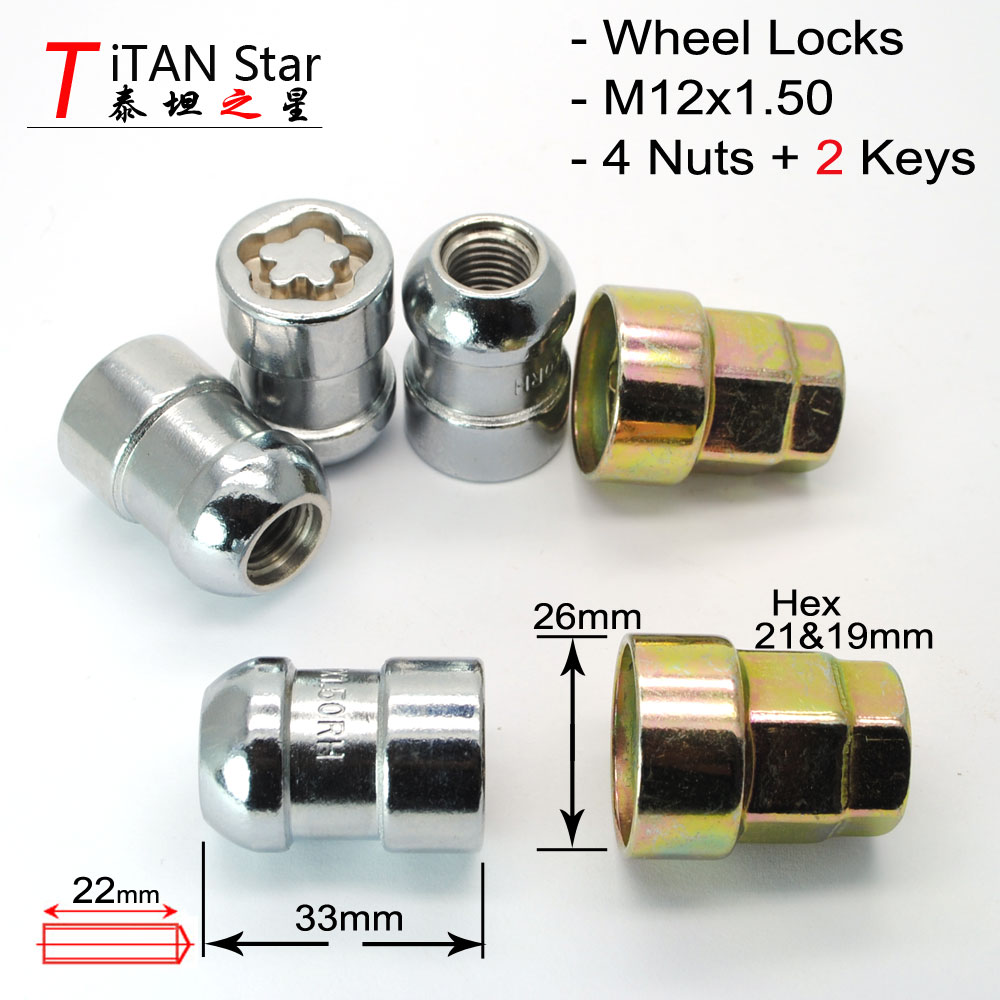Locking Wheel Nuts Fit Honda HR-V JAZZ CR-V ACCORD PRELUDE ALL MODELS M12 x1.5mm