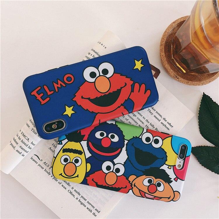 Cute Cartoon Sesame Street Cookie Elmo Phone Iphone 6 6S Plus 7 7 Plus 8 8 Plus X Cases Soft Silicon Back Cover Coque