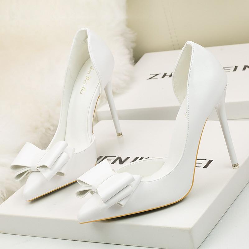 ... Bow knot Sexy Women Pumps Extreme High Heels 10.5cm Wedding Stilettos  Shoes Platform Boat Bridal Lolita Shoes White on Aliexpress.com  93aeadad9ed7