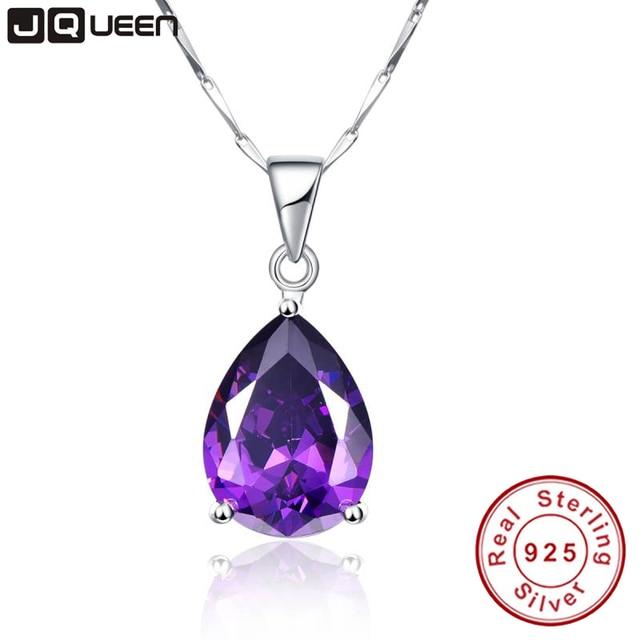 JQueen 925 Sterling Silver Jewelry Wholesale Pearl Cut Waterdrop Amethyst Pendant Necklace with 925 Silver Chain joyas de plata