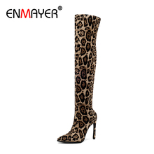 ENMAYER Pointed Toe Thin Heels Flock Over-the-Knee Slip-On Fur Boots Leopard Thigh High Boots Womens Winter Fashion Microfiber 2017 thin heels super high pointed toe slip on elastic boots botas mujer shoes women winter boots over the knee thigh high boots