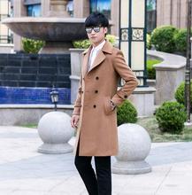 Men's casual clothing plus size long woolen coats men slim wool coat double-breasted coat outerwear 2017 autumn winter fashion