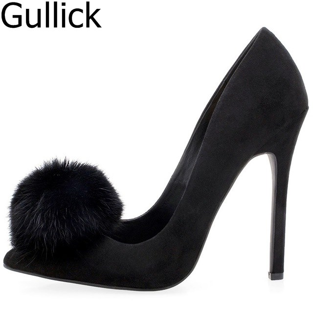 Sexy Black Flock Pom Pom High Heel Shoes Slip-on Thin Heel Women Pumps Sexy Spring Autumn Party Dress Shoes Big Size Free Ship