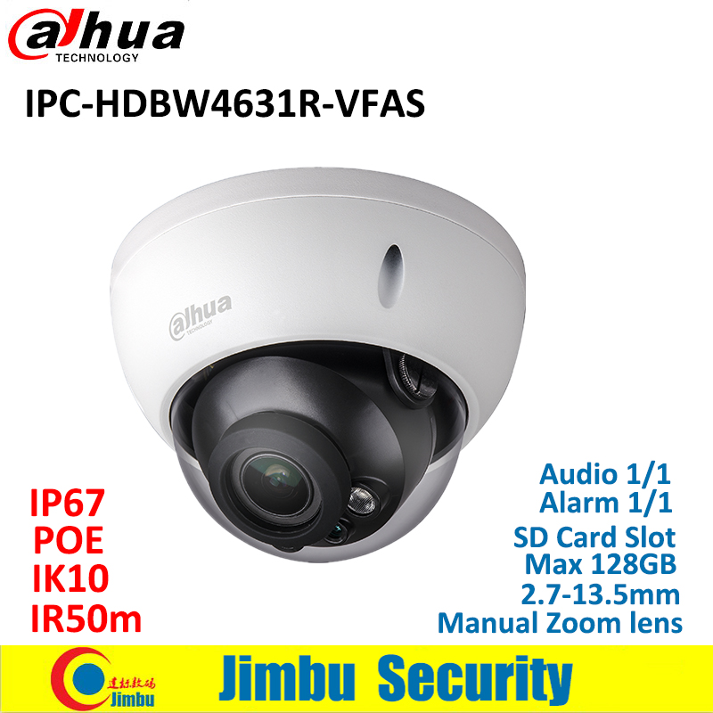 Dahua IP Camera 6MP IPC-HDBW4631R-VFAS POE 2.7-13.5mm H.265 Manual zoom lens IR50m IK10 CCTV camera with SD card slot Max128GB dahua ip camera 6mp poe ipc hdbw4631r s support sd slot ir30m ik10 ip67 cctv camera english firmware