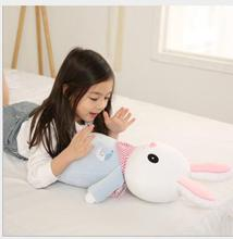 WYZHY Cloth Fang Bunny Pillow Soothe Long Striped Doll Holding Sleeping Puppet Birthday Gift 50CM