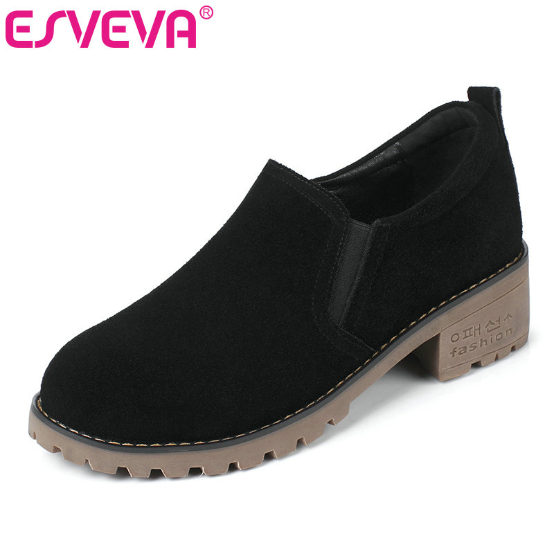 ESVEVA 2017 British Style Women Pumps Round Toe Spring Autumn Shoes Square Med Heel Black Green Casual Woman Shoes Size 34-39 xiaying smile new spring autumn women pumps british style fashion casual lace shoes square heel pointed toe canvas rubber shoes