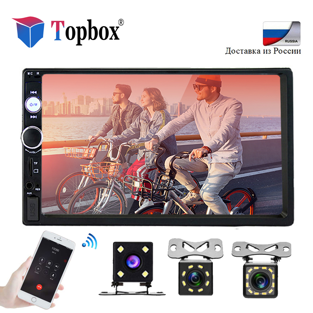 Topbox 2 Din Car Radio 7 Bluetooth Car Multimedia Player 2din Touch Autoradio MP5 SD/FM/MP4/USB/AUX Audio Stereo With Camera podofo 2 din car radio 7 hd audio stereo bluetooth multimedia player mp5 usb sd fm 2din touch screen autoradio rearview camera