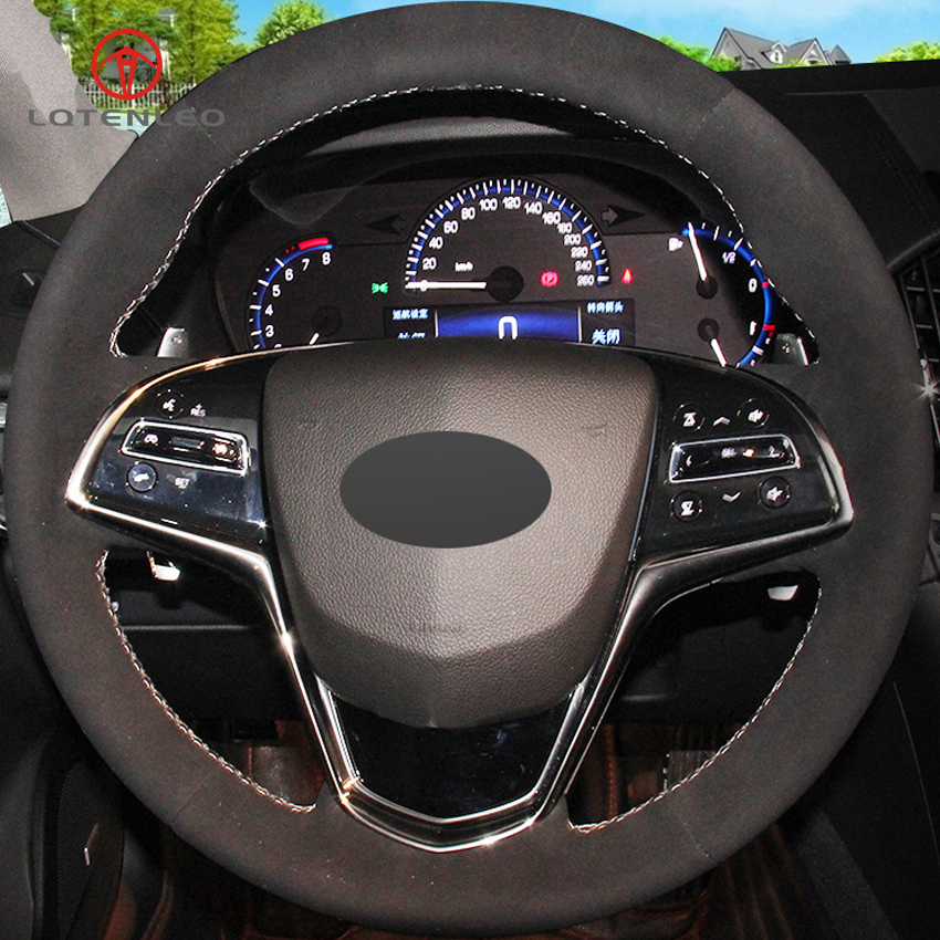 2014 Cars Cadillac Cts Use: LQTENLEO Black Suede DIY Hand Stitched Car Steering Wheel
