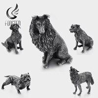 Fongten Large Pets Wolf Labrador Bulldog Rottweiler Dogs Doll Home Arrangement Kids Men Women Furniture Decoration Gift