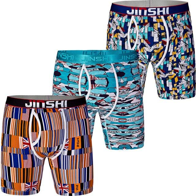 3PCS/Pack JINSHI Men's Shorts Bamboo Fiber Printed Stretch Underwear Male Man Gay Boxer Trunks Brand Boxers Underwear Pantis