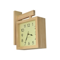 Exquisite brief wooden double sided wall clock Sided Stylish living room wooden wall clocks Home Decoration