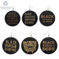 SOMESOOR-pendientes colgantes de madera africana para mujer, 6 pares, fotos talladas, refranes negros,
