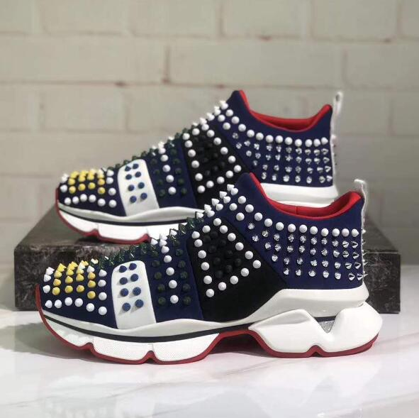 BONJEAN Fashion High Quality Leather Rivets Studded Casual Shoes Men Round Toe Colorful Spikes Flat Shoes Men Loafers