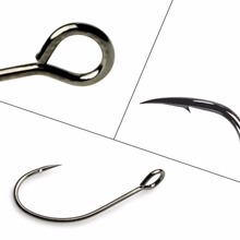 High Carbon Steel Fishing Hook Carp Hook Fishing hook With Ring Fish Hooks For Lure Spoon Barded  anzuelos 100pcs