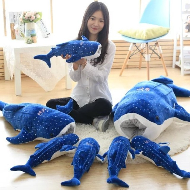 50-150cm New Style Blue Shark Plush Toys Big Fish Cloth doll Whale stuffed plush sea animalsChildren Birthday Gift