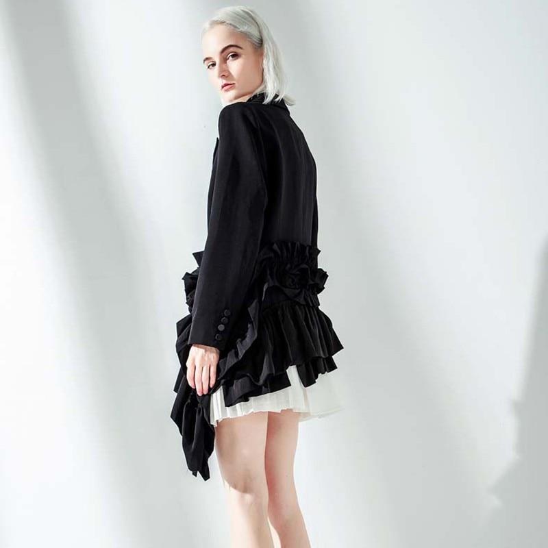 [EAM] 2019 New Autumn Winter Lapel Long Sleeve Black Ruffles Pleated Stitch Loose Irregular Jacket Women Coat Fashion Tide JQ775