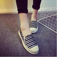 2016 women casual shoes espadrilles huarache check bars stripped Canvas Slip on skating ballet flats Loafers