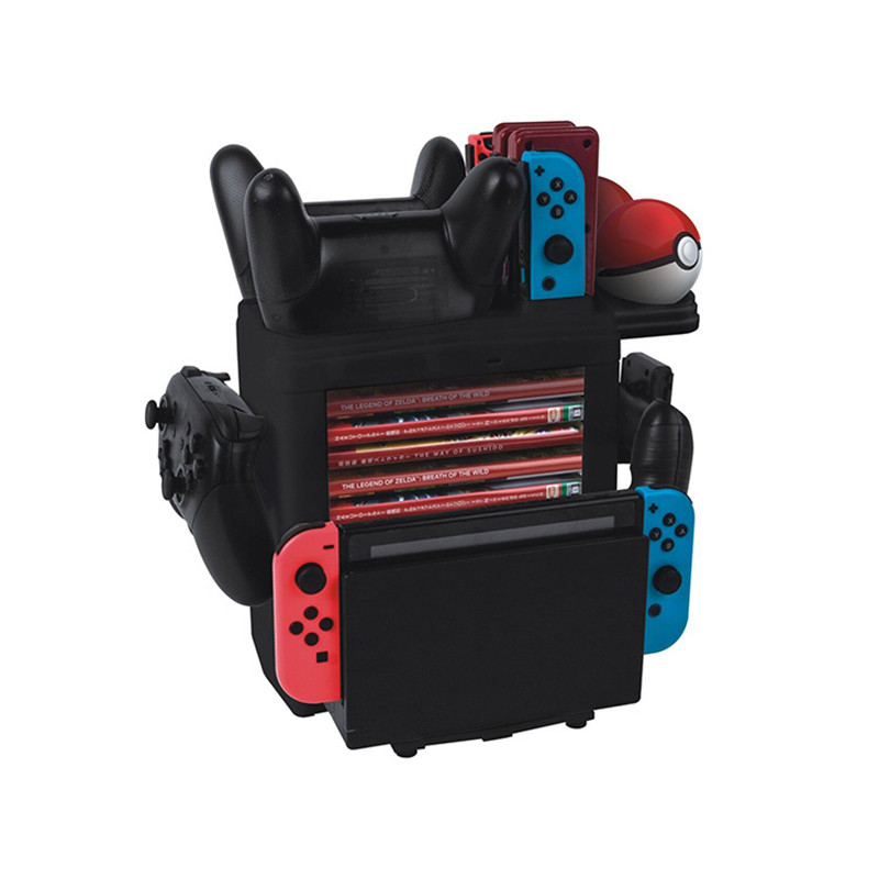 Купить с кэшбэком Nintend Switch Storing and Charging Vertical Stand Tower 8 games CD holder Charger For Nintendos Switch Pro Switch online Joycon