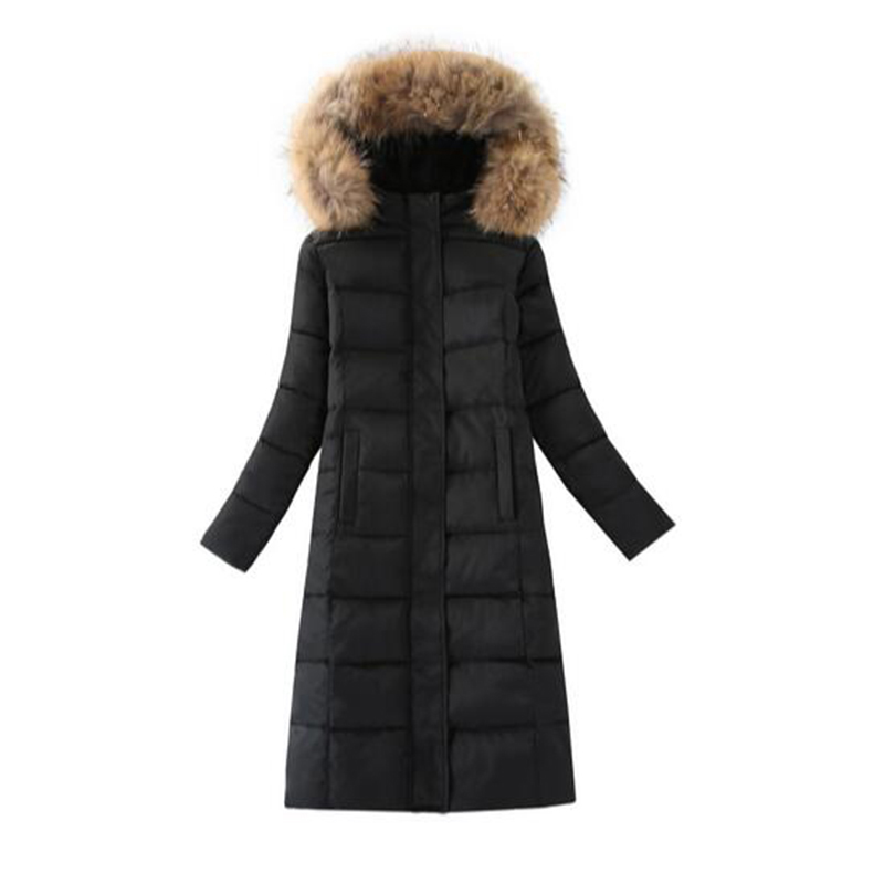 Women's Thick Warm Long Winter Jacket Women Parkas 2017 Faux Fur Collar Hooded Cotton Padded Coat Female Cotton Coats PW1038 women winter coat jacket thick warm woman parkas medium long female overcoat fur collar hooded cotton padded coats