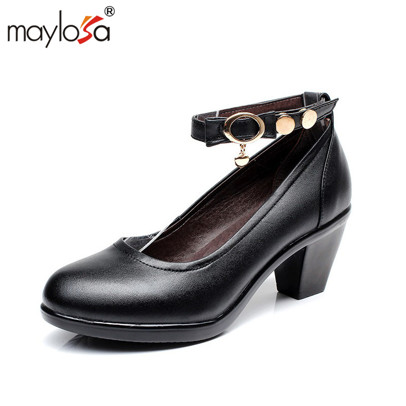 MAYLOSA Women's High Heels Shoes Women Genuine Leather Women Pumps Thick High Heels Sexy Party High Heel Shoes Pump Plus Size 43 luxury brand crystal patent leather sandals women high heels thick heel women shoes with heels wedding shoes ladies silver pumps