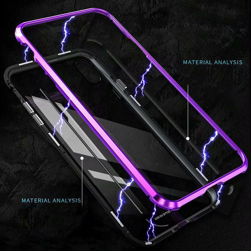 Magnetic Flip Case for iPhone XS Max XR X 6 6s Plus Tempered Glass Aluminum Frame Magnet Adsorption Back Cover for iPhone 8 7 in Flip Cases from Cellphones Telecommunications