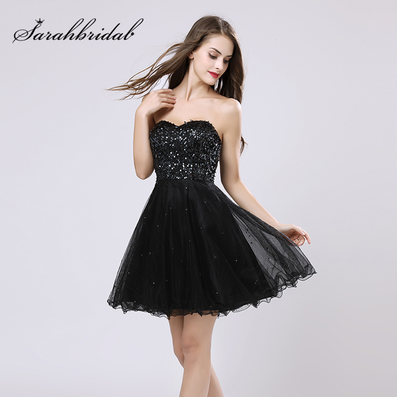 Little Black   Cocktail     Dresses   with Sequined Bodice Tulle Sweetheart Lace Up Back Evening Party   Dress   Short Prom Gowns OS032