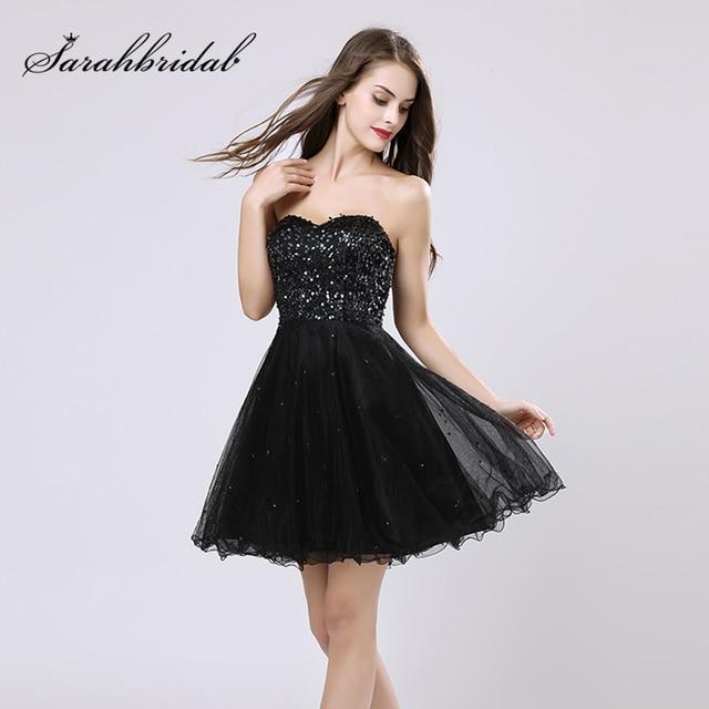 d51b68c1cc Negro vestidos de cóctel con lentejuelas tul novia de noche vestido de fiesta  corto de baile