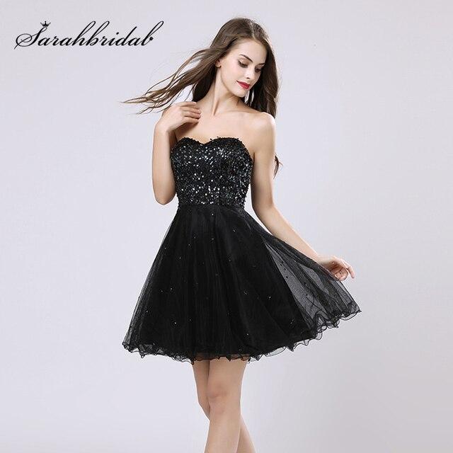 33e2164191a3 € 33.34 30% de DESCUENTO|Aliexpress.com: Comprar Vestidos de Cóctel negros  pequeños con corpiño de lentejuelas tul corazón encaje en la espalda ...