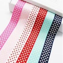 1 Inch  25 MM Grosgrain Ribbon Printed Hot Gold Heart Wedding DIY Crafts Tape 6 Colors