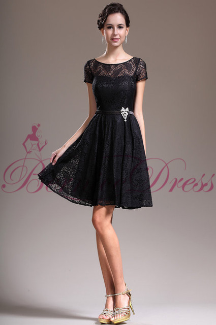 544e0694d174 2015 New Fashion Short Sleeve A-line Black Lace Vestidos Short Evening Dress  Party Elegant Custom Made Robe De Soiree Prom Gown