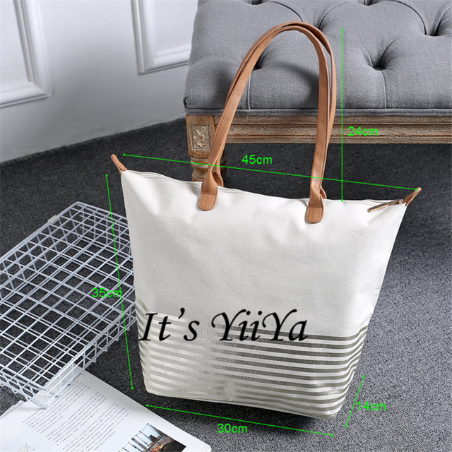 Free Shipping Casual Canvas Zipper Shopping Bags White Color with Striped Pattern Women Handbags Shoulder Bags HL025