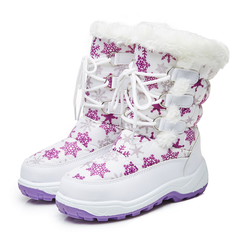 Winter Waterproof Girls Snow Boots Baby Warm Plush Mid Calf Shoes Lace Up Fashion Flat Boots For Girls High Quality AA51182