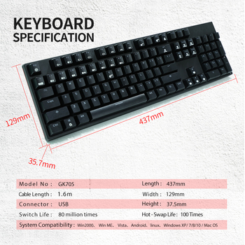 HEXGEARS GK705 Kailh BOX Switch 104 Keys Gaming Mechanical Keyboard Hot Swap Switch Anti-Ghosting LOL Keyboard 5